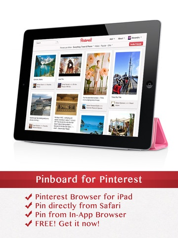 Pinterest Application for iPad Thank you for allowing me to have my Pinterest in the waiting room at my Dr.!