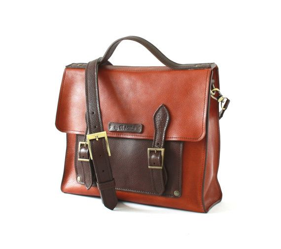 Full grain vegetable tanned leather briefcase