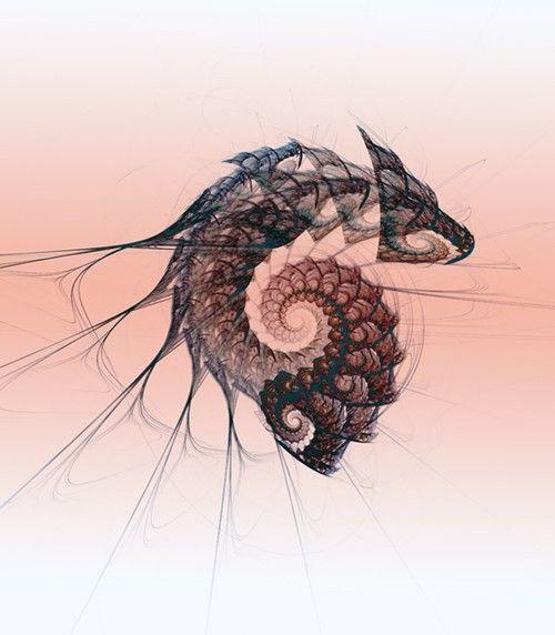dragon fractal art.  bromley2 on etsy
