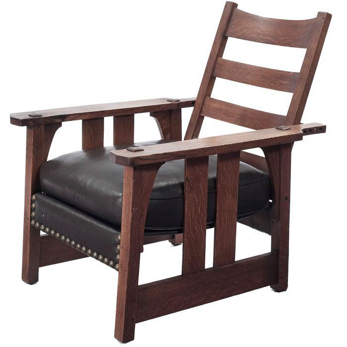 Description Early Gustav Stickley Morris Chair 2341
