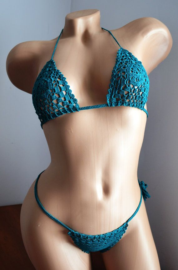 Teal Lace Bikini  Crocheted Swimsuit by MomDaughterCraft on Etsy