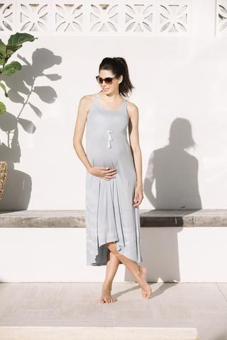 Josie maxi maternity dress in sea blue