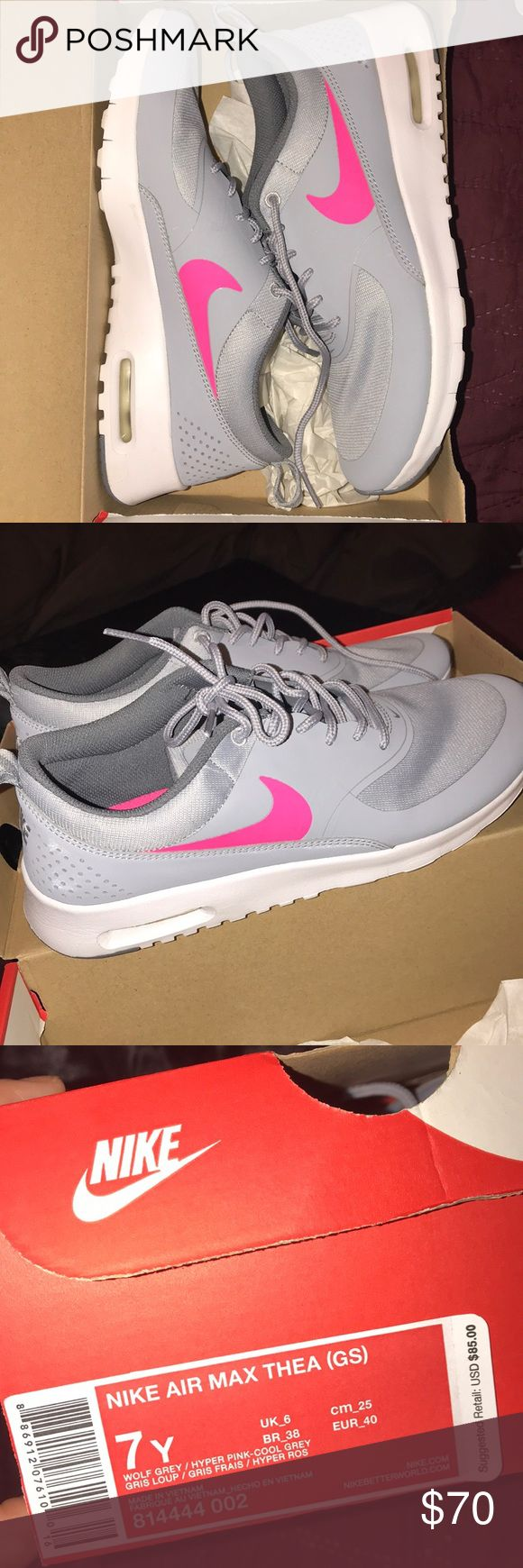 Nike Air Max Thea kids size 7Y Grey nike air max thea with pink swoosh. Size 7Y. Never worn. Nike Shoes Sneakers