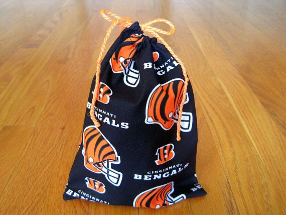 Sports Drawstring Bags 6x8 Handmade from Cincinnati Bengals 100% COTTON Black Orange White NFL pro Football Team pouch, tailgate party gift ~ Available on www.MaliakeiBags.com