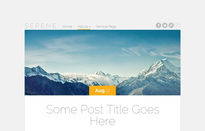 """""""Serene"""" -truly beautiful #free blogging #Wordpress theme with post format support and elegant, simplistic and spacious #design."""