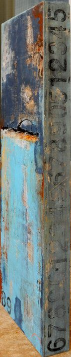 Large Painting Abstract mixed media on wood by erinashleyart