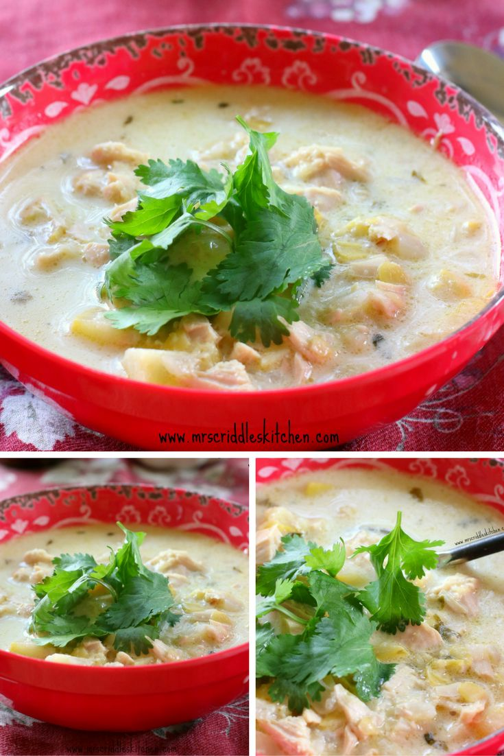 Creamy Turkey Soup- a THM S, Low carb soup that is creamy, chowder like and perfect for a cold day.