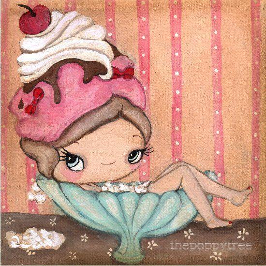 Bathtub Print Ice Cream Art Tub Of Icecream 8 x 8 by thepoppytree, $18.00