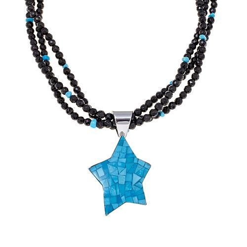"""Mine Finds by Jay King Jay King Sleeping Beauty Turquoise Inlay Sterling Silver Star Pendant with 18"""" Beaded Necklace"""