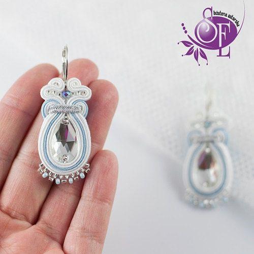 White bridal earrings - Soutache earrings - Wedding earrings - white - srernity blue by SzkatulkaEmi on Etsy