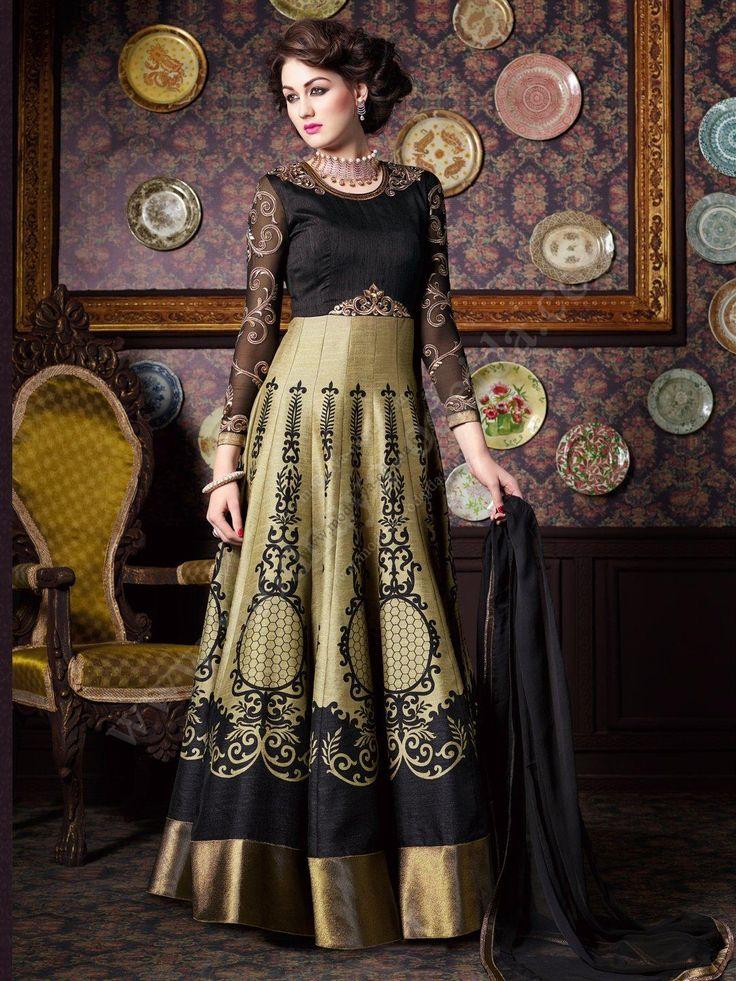 Чёрно-бежевое длинное платье в пол, с длинными рукавами, украшенное вышивкой люрексом, пайетками и стразами