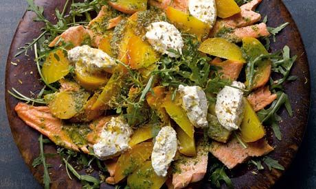 Yotam Ottolenghi recipes: Confit trout salad with golden beetroot and ricotta. plus sprouting broccoli with anchovy and smoky crumbs | Life and style | The Guardian