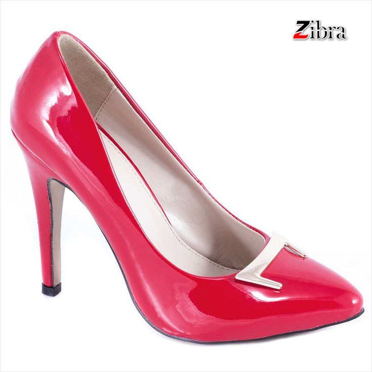 Pantofi rosii cu toc 51936R - Reducere 60% - Zibra