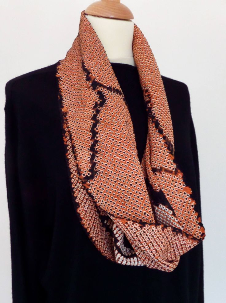 Stunning shibori Loop scarf; vacation/party; Abstract copper and black; tailored chic; stunning luxurious style;boho chic;unisex gift by LizzieHuxtable on Etsy