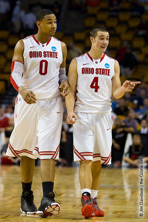 Jared Sullinger and Aaron Craft are confident during the Buckeyes' victory over Cincinnati. Photo by Jim Davidson of TheOzone.net.