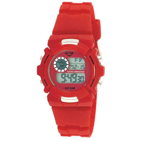 Activa Digital Unisex Watch ($30) ❤ liked on Polyvore featuring jewelry, watches, red jewelry, chrono watches, digital wrist watch, red bracelet and bracelet watches