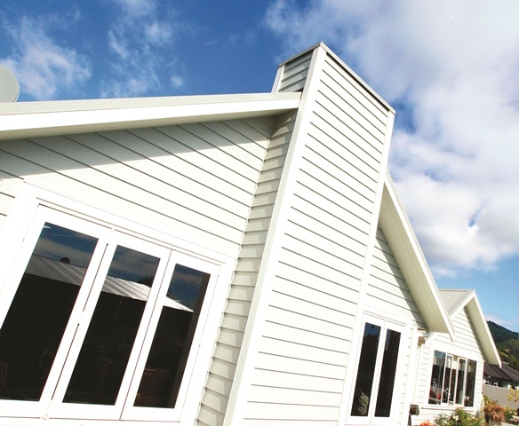 The home is finished in Linea weatherboard for a traditional look.
