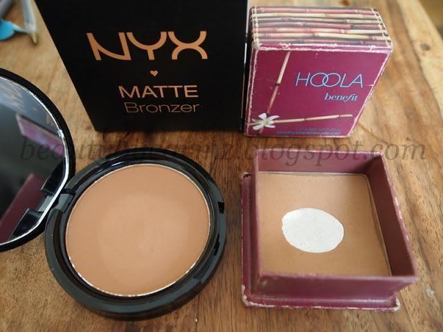 NYX Matte Bronzer ($9) vs. Benefit Hoola Bronzer ($28) - beauty hacks, beauty dupes, make up diy, budget make up #makeupdupes