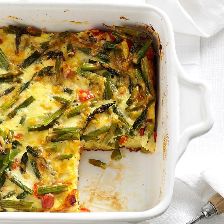 Overnight Asparagus Strata Recipe -I've made this tasty egg dish for breakfast, brunch, even dinner as a side dish. This is not your run-of-the-mill strata. —Lynn Licata, Sylvania, Ohio
