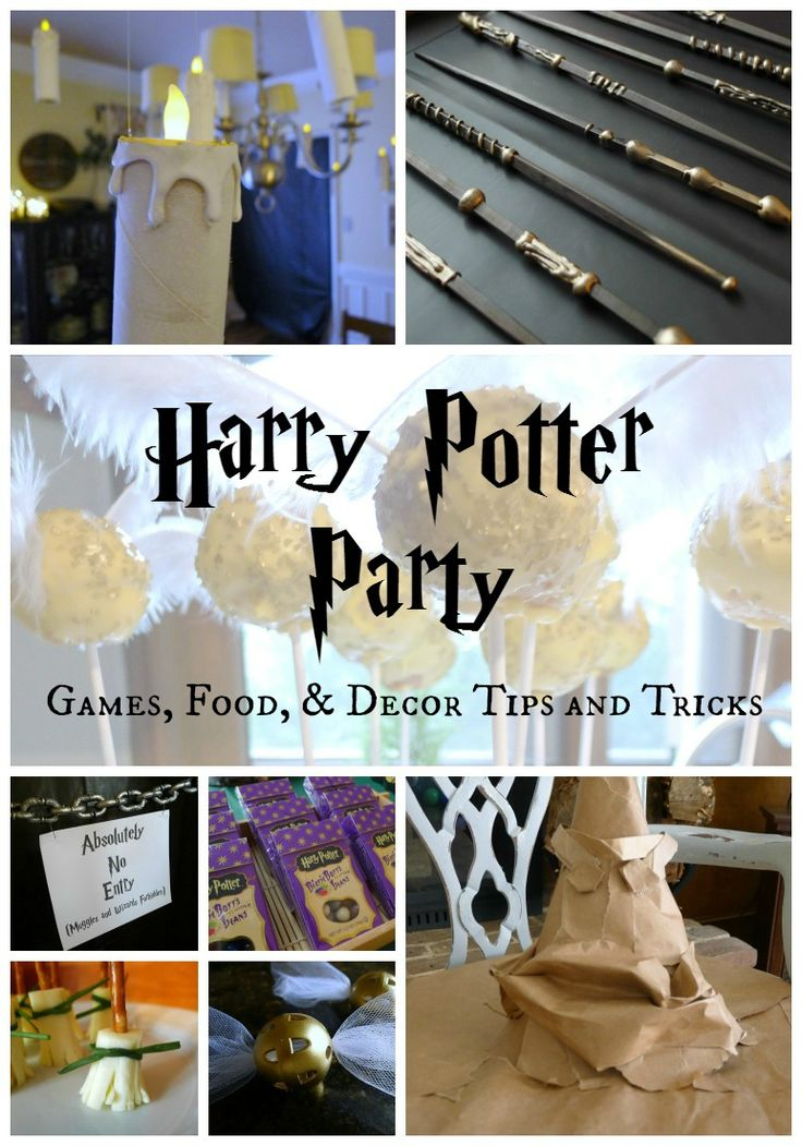 """Some good ideas here as well. I like the idea of using a spinner to determine what house you get sorted into (they each got two spins in case they were unhappy with the first) and then they used a baby monitor to have the sorting hat """"speak."""" Harry Potter Party Games Food and Decor"""