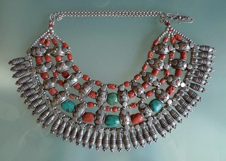 India – Pradesh | Kulu Manali choker. Coral, Turquoise and Silver collar | 975$