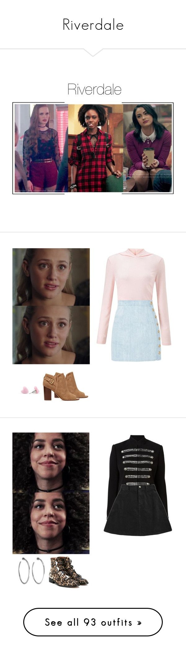 """""""Riverdale"""" by shadyannon ❤ liked on Polyvore featuring Miss Selfridge, Balmain, Sam Edelman, Witchery, Givenchy, Jennifer Fisher, Topshop, Boohoo, Bloomingdale's and Prada"""