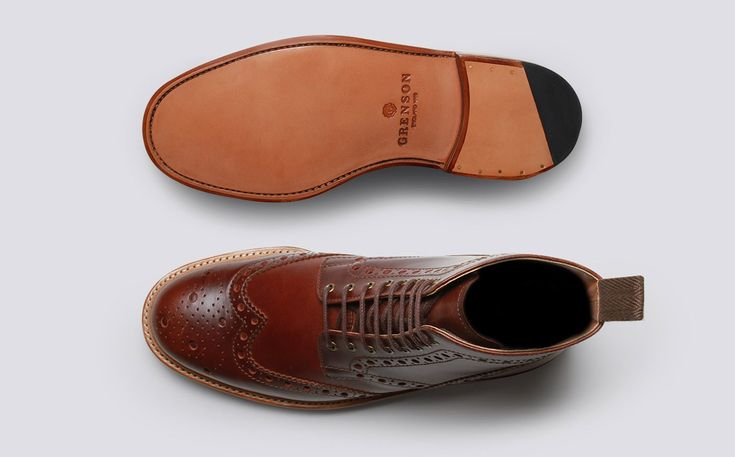 Mens Brogue Boot in Chestnut Pull Up Calf Leather with a Leather Sole | Fred | Grenson Shoes - Top & Bottom View