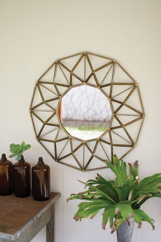 Kalalou Antique Gold Round Metal Mirror