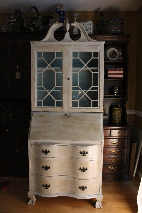Hand Painted In Annie Sloan Chalk Paint Using Paris Grey On Outside And Duck Egg Blue Inside The Cabinet Desk