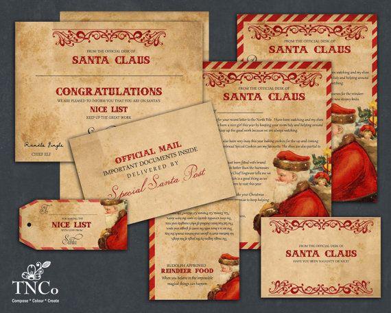 Santa letter, printable santa claus letter, reindeer food bag header, naughty or nice certificate, Christmas printables, vintage paper style
