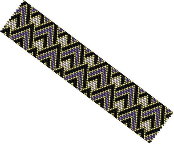 DIY Peyote Pattern - Purple Gold Black bracelet - Beaded Cuff Bracelet - PDF Digital Pattern - Odd Count peyote stitch - Miyuki Delica Beads