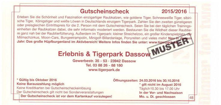 Gutschein Tigerpark Dassow