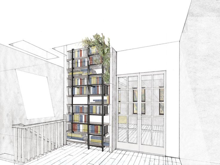 Park Slope Residence | Workstead | Architecture Graphics | Pinterest | Bookshelf  Ladder, Drawings And Architecture Idea