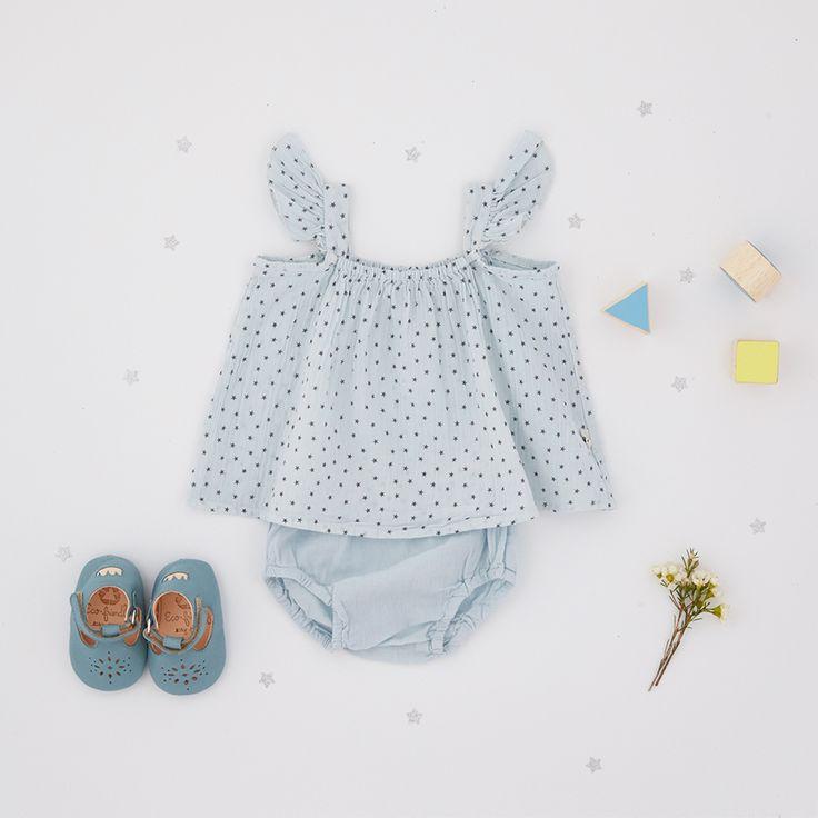 Look • Ensemble top & culotte My Little Cozmo • Chausson cuir salomé Easy Peasy #look #baby #plumeti #naissance #mode #enfant