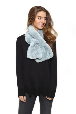 FUR 5 EIGHT BABY BLUE KNITTED RABBIT FUR SCARF