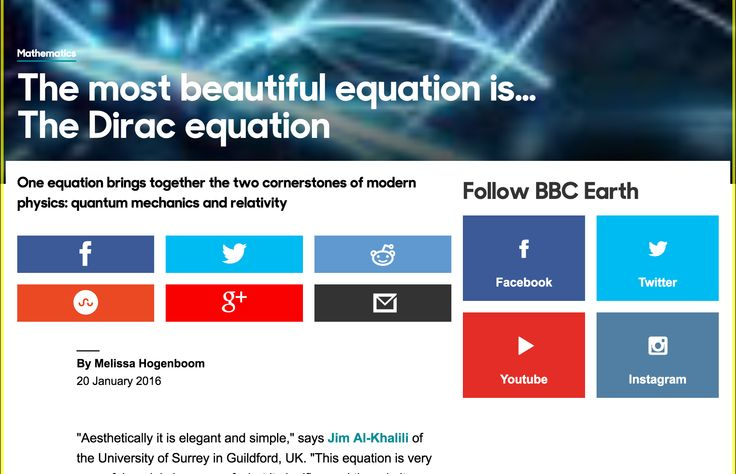 BBC - Earth - The most beautiful equation is… The Dirac equation http://www.bbc.com/earth/story/20160120-the-most-beautiful-equation-is-the-dirac-equation