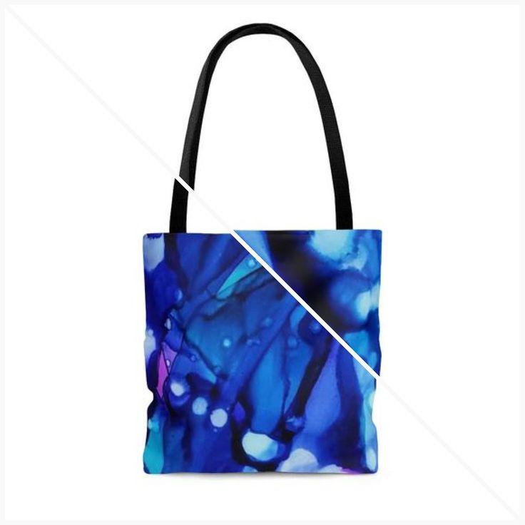 Einkaufstasche, Alkohol Ink Print, blaue Einkaufstasche, Geschenke für sie, Einkaufstasche, Einkaufstasche