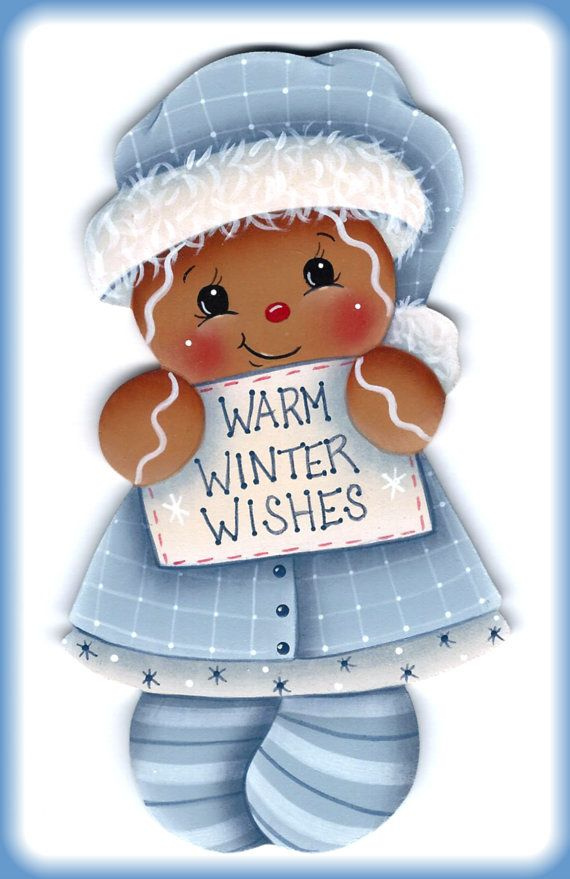 Warm Winter Wishes Gingerbread Painting por GingerbreadCuties, $4.00
