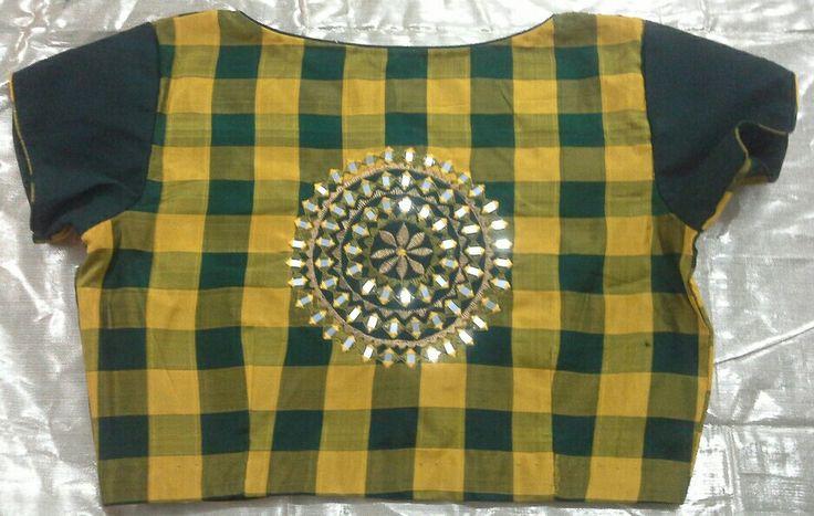 Checks blouse with mirror butti 7702919644