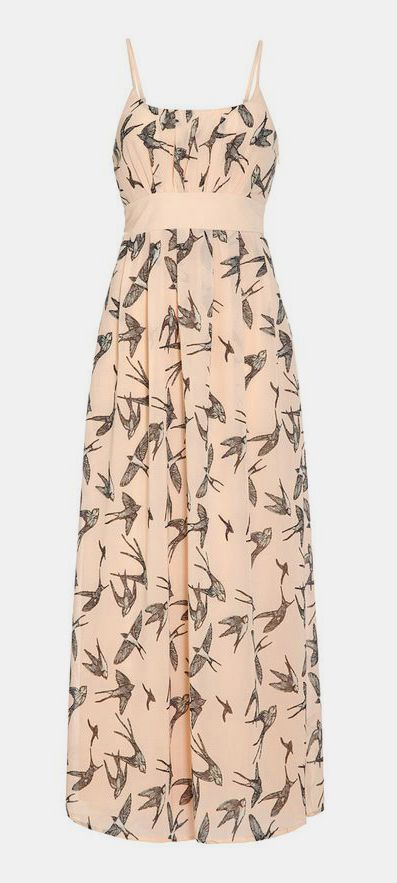 Peach Swallow Empire-Waist Dress with a black cardigan this would be lovely