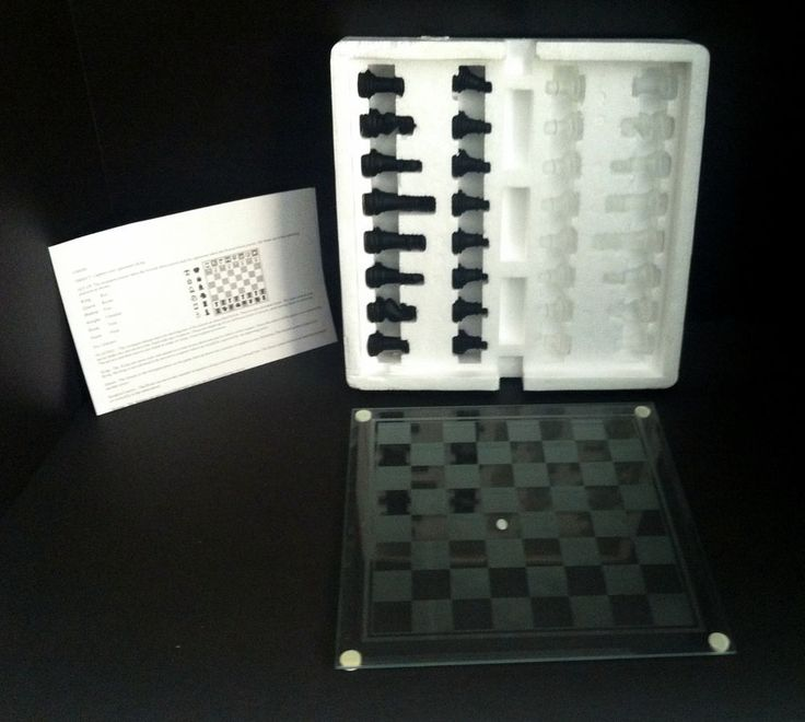 """Glass Chess Set Clear & Black Pieces Clear Board With  Frosted Squares 10""""x10"""""""