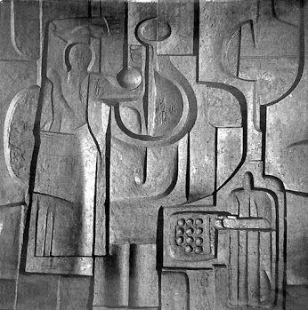 Eva Prokopová model-hlína na relief do Spolany Neratovice 600 x 600cm