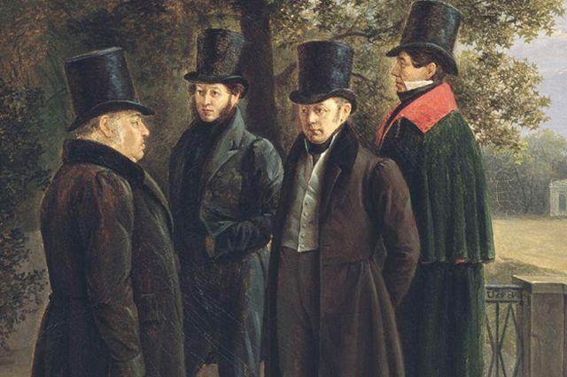 Г.Г. Чернецов. «Крылов, Пушкин, Жуковский и Гнедич в Летнем саду». 1832 год.