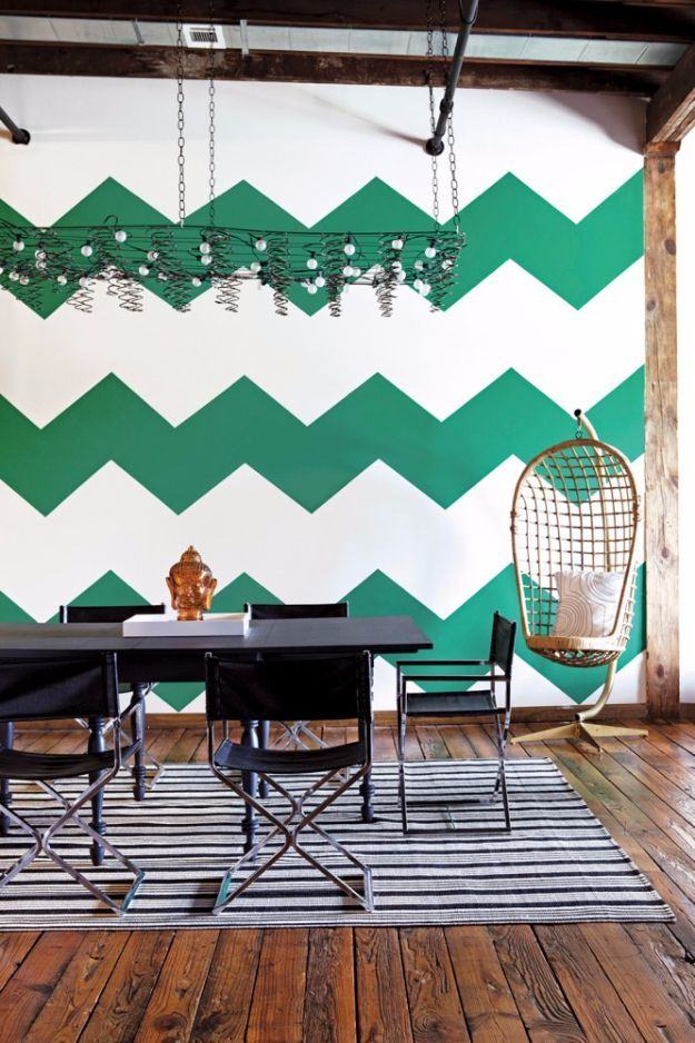 DIY Ideas for Painting Walls - Emerald Chevron Walls - Cool Ways To Paint Walls - Techniques, Tips, Stencils, Tutorials, Fun Colors and Creative Designs for Living Room, Bedroom, Kids Room, Bathroom and Kitchen http://diyprojectsforteens.com/cool-ways-to-paint-walls
