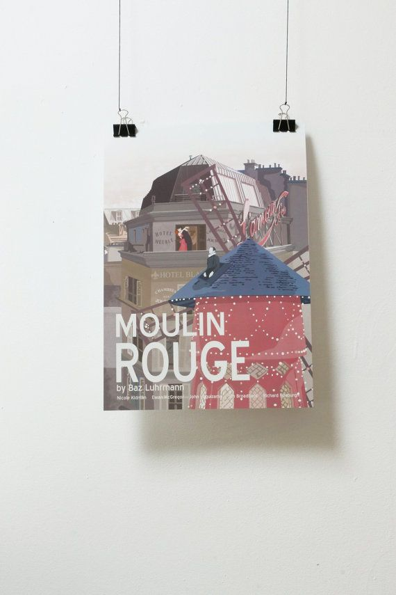 Affiche de film Moulin Rouge - Poster Baz Luhrmann A3 Print Illustration by Minuscule Motion Sold on Etsy Movie Poster - Movie Print Present Idea - Wish list - Christmas Present