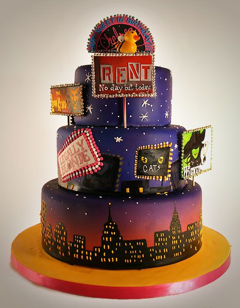 Broadway Cake / Delicious: Musicals, Amazing Cakes, Cake Ideas, Broadway Cake, Wedding Cake, Musical Theatre, Party Ideas, Birthday Cakes