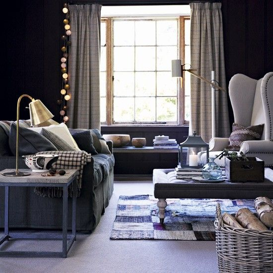 warm blue living room