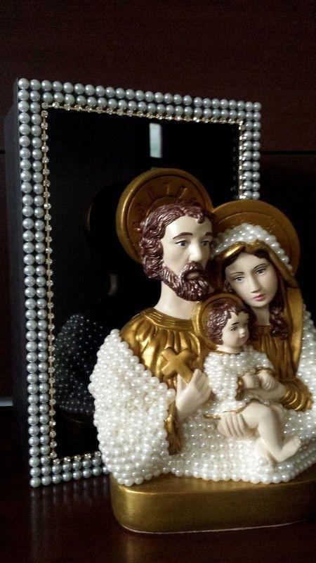Sagrada Família 30 Cm com Pérolas + Caixa