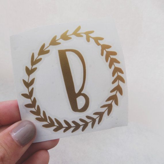 Single Letter Wreath Decal // Monogram Sticker // by abidedesignco