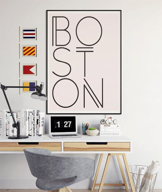 Boston Art, Boston Print, Boston Wall Art, Boston Poster, Boston Artwork, Massachusetts, Typography, Wall Art, Print